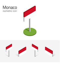 monaco flag set of 3d isometric icons vector image vector image
