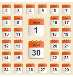Set of icons for the calendar in June vector image