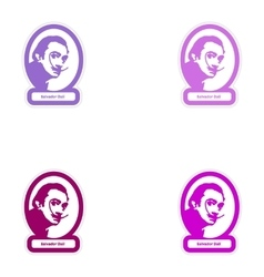 Set of paper stickers on white background salvador vector