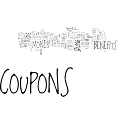 benefits of coupons text word cloud concept vector image