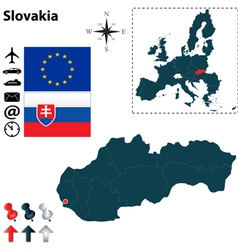 Slovakia and European Union map vector image vector image