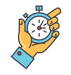 time management hand with timer stopwatch vector image vector image