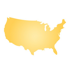 yellow radial gradient silhouette map of united vector image