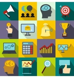 Business banking and office icons set flat style vector image vector image