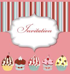Cupcake invitation card vector image