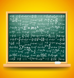 Green school board with physics formulas vector image