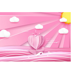heart shape boat in the sea and cloud sky vector image