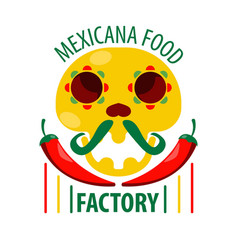 Mexican food restaurant skull and chili pepper vector