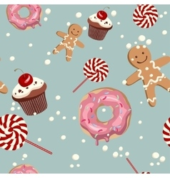 Sweet cape cakes pattern on blue background vector image vector image