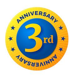 third anniversary badge gold celebration label vector image