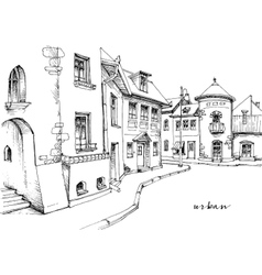 City street sketch vector image