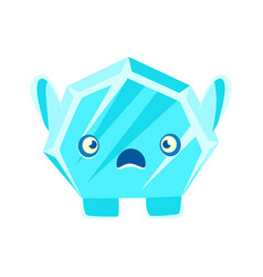 cute crystal stone with frightened face cartoon vector image vector image