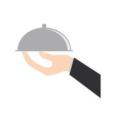 hand holding tray catering food vector image