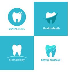 logo dental clinic set vector image vector image