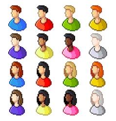Pixel user icons set vector image vector image