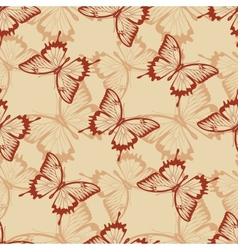 Vintage seamless background with butterflies vector