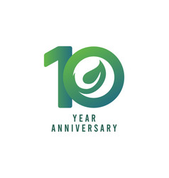 10 years anniversary leaf template design vector