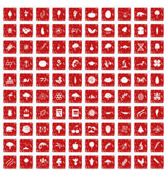 100 microbiology icons set grunge red vector