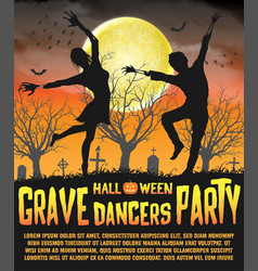 a halloween silhouette grave dancers party poster vector image