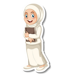 a sticker template with muslim woman wearing vector image