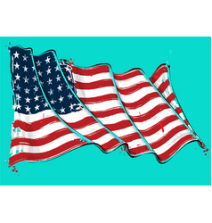 american 48 star artistic brush stroke waving flag vector image