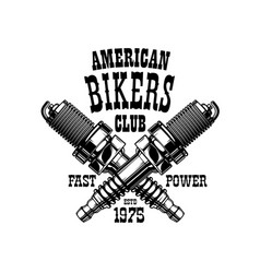 American bikers club badge engine spark plugs vector