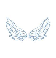 Beautiful wide open angel wings monochrome vector