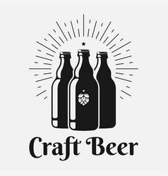 Beer bottle logo craft bottles on white vector