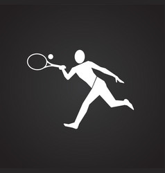big tennis player on black background vector image