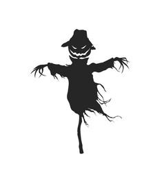 Black silhouette scarecrow halloween party vector