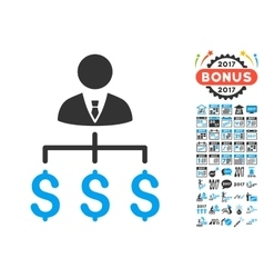 Boss Payments Icon With 2017 Year Bonus Pictograms vector image
