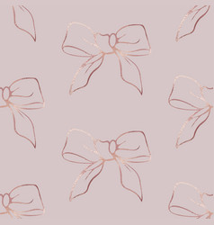 Bows rose gold gold elegant seamless pattern vector