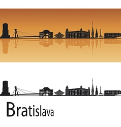 Bratislava skyline in orange background vector image vector image