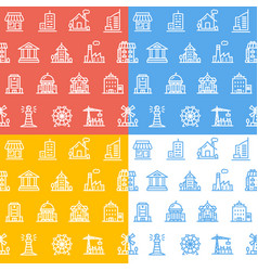 building house or home pattern background set vector image