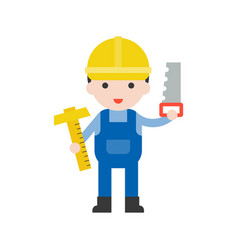 carpenter and t-square saw set profession vector image