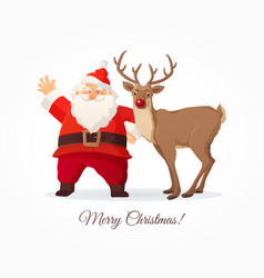 Christmas card funny cartoon santa claus and vector