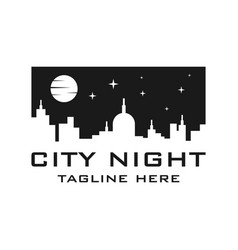 city night logo template vector image