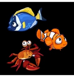 Clownfish blue fish and crab marine characters vector image