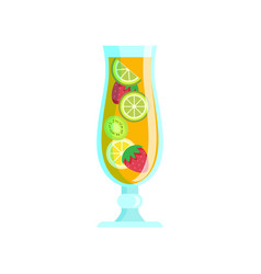 cocktail mix tropical fruits juice lime kiwi vector image