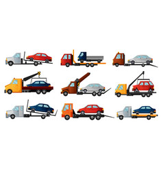 Collection tow trucks cool flat towing trucks vector