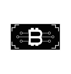 Contour ticket with bitcoin circuits money vector