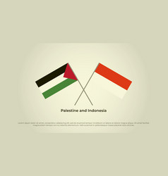 Crossed flags palestine and indonesia official vector