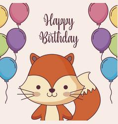 Cute fox happy birthday card with balloons helium vector