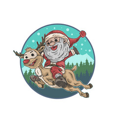 Cute santa claus and deer vector