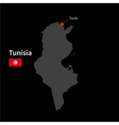 Detailed map of Tunisia and capital city Tunis vector