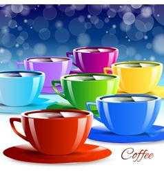 Different color paper cups isolated drink vector