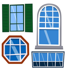 different types house windows elements flat style vector image