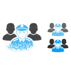 Dispersed pixel halftone army team icon with face vector