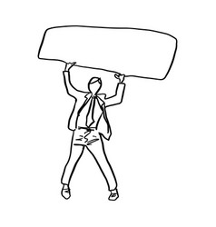 doodle businessman holding blank sign vector image