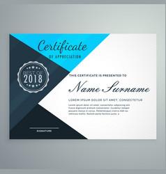 Elegant blue diploma certificate design template vector